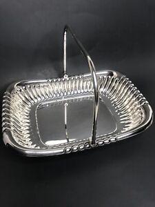 Silverplate Bread / Fruit Basket With Handle Vtg.