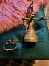 More details for vintage brass wall hanging door bell with chain pull.working.