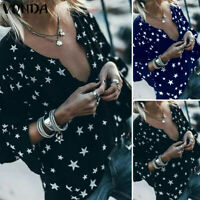 Women Star Printed V Neck Top Baggy Plain Holiday Long Sleeve Blouse Tee Shirt