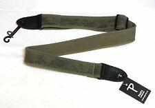 PERRI'S Distressed Green Cotton Guitar Strap LEATHER ENDS - NEW aged worn-look