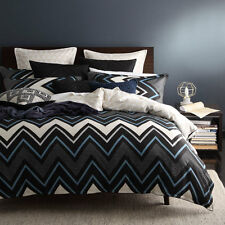 Logan and Mason TYCEN DENIM Chevron Queen Size Bed Doona Duvet Quilt Cover Set