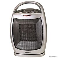 OPTIMUS PORTABLE OSCILLATING CERAMIC SPACE HEATER w/THERMOSTAT OFF/FAN/LOW/HIGH