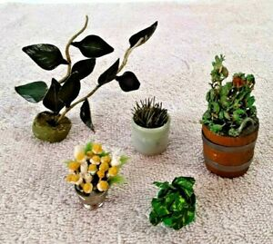 "Vintage Dollhouse 2"" Potted Plants Flowers Lot of 5 Miniature Simulated Decor"