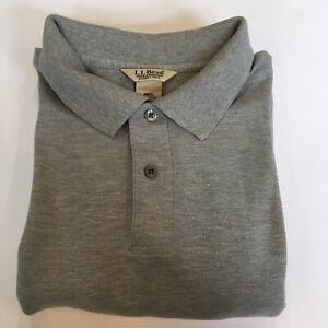 L. L. Bean Double L Long Sleeve Polo Shirt Men's XL Tall Cotton Gray