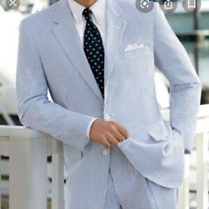 NWT $395 Jos. A. Bank Blue White Seersucker Suit 41L / 35W 100% Cotton