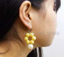 White Sea Shell pearl leverback Earring-ear636 Sale 10-11mm Yellow Round Pearl &