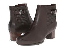 NEW Ladies CLARK'S Rosalyn Lara Dark Brown Leather Ankle Boots SZ   10M