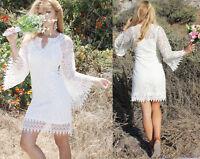 Ivory Boho wedding dress Crochet Vintage Sheer Lace Beach Country Bell Sleeve