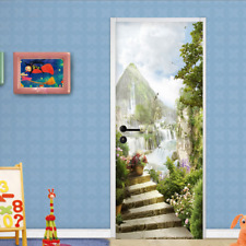 3D Waterfall Natural Scenery Self-Adhesive Bedroom Door Mural Wall Sticker Decor