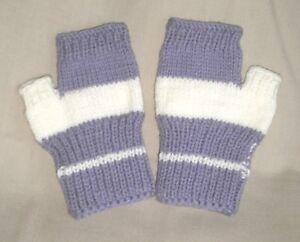 Hand Knit Fingerless Gloves - Lavender w/ white