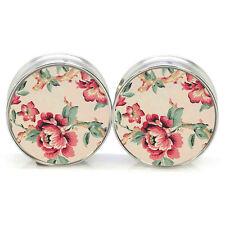 6-25 mm Double Flared Plug Tunnel Blumen beige silber bunt rosa grün Edelstahl