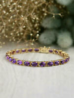 13.9CT Oval Cut Amethyst Solid 14K Yellow Gold Finish Vintage Tennis Bracelet