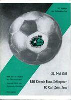 Programmheft/BSG Chemie Buna-Schkopau-FC Carl Zeiss Jena/Nachwuchs-Ob. 1982 /39