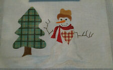 Plaid Snowman and Tree Handpainted Needlepoint Canvas & stitch guide