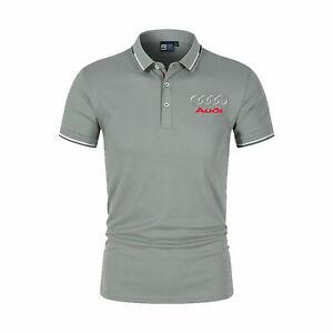 Audi Neu Herren BAUMWOLLE GESTRICKTo  Logo Polo T Shirt Kurzarm Hemden Poloshirt