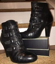 Ash ~ Buckle Biker Ankle Boots In Black Leather EU37 UK4