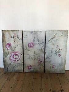 Triptych Chinoiserie Style Screen Printed Wooden Wall Art