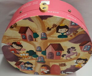 Jura Toys France Janod Princess 36 Piece Floor Puzzle Round Case A/F Repaired