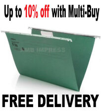 12 x FOOLSCAP Heavyweight Suspension Files With Tabs & Inserts - 400mm Runner