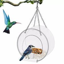 Removable Round Hanging Window Wild Bird Feeder Suction Cups Chains Drain HoleSL