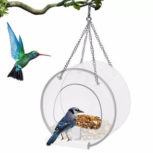 Removable Round Hanging Window Wild Bird Feeder Suction Cups Chains Drain Ho C3