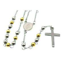 Religious Rosary Beads 68cm, NEW Silver And Gold 5mm Beads Stainless Steel