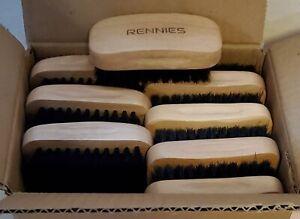 NEW Rennies Wood Grip Shoe Brushes, 1.5cm Bristles, Qty 24, Brown
