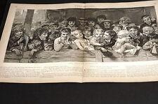 Laughing Children at Circus CLOWNS AUDIENCE 1881 Medium Folio Engraving Print