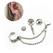 4 pcs Dreamcatcher Earring set with Sun Leaves Heart Stud punk chain earring