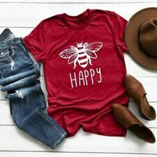 Women Summer Fashion Top short Sleeve Bee Print Funny Graphic T-shirt Tees Tops