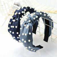Wide Fabric Knot Accessories Headband Band Women's Pearl Tie Hair Hoop Hairband