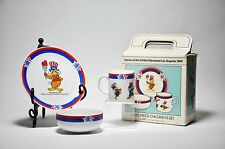 NEW in Box 1984 23rd OLYMPICS Los Angeles CHILDS 3 pc Dish Set Cup Plate Bowl