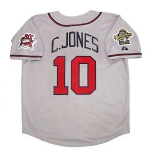 Chipper Jones Atlanta Braves 1995 World Series Grey Road Jersey Men's (M-2XL)