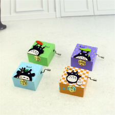 1pcs My Neighbor Totoro Square Hand Crank Wood Music Box Birthday Gift Random