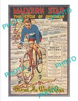 LARGE A3 HISTORIC PRINT OF MALVERN STAR HUBERT OPPERMAN CYCLING POSTER c1930