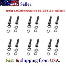 12 Set M3 x 18mm Black Alloy Steel Allen Hex Socket Cap Head Screws