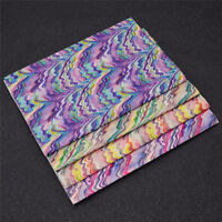 A4 PU Leather Fabric Sheet Colorful Wave Striped Hair Bow Sewing Accessories DIY