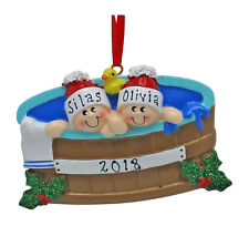 NAME PERSONALIZED Hot Tub Heaven Family of 2 Christmas Ornament Holiday Gift