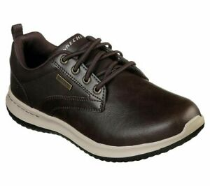 Mens Skechers Brown Leather Waterproof Walking Shoes Trainers Size UK 8 42