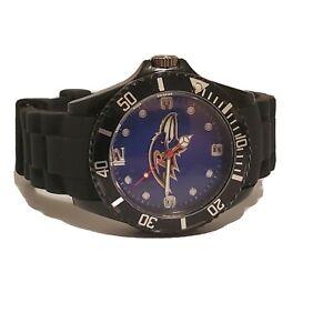NFL Football Ravens Sports Watch Team Spirit Men Black Rubber Wrist Time Piece