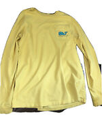 Vineyard Vines Men's Football Yard Line Whale Logo Long Sleeve Pocket T-Shirt S