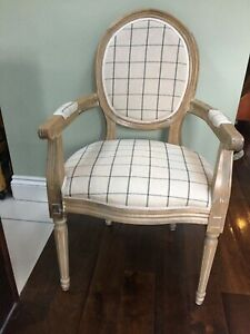 French Louis Reproduction Carved Fauteuil Chair with Check Upholstery.