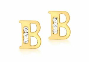 9ct Yellow Gold Clear Stone 'B' Initial Stud Earrings
