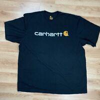 Carhartt Men's 2XL Black T-Shirt Signature Short Sleeve Logo Large Spell Out