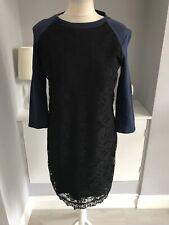M&S Per Una Lace Front Black & Navy Blue Jumper Dress Size 10
