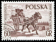 Scott # 1019 - 1961 - ' Mail Cart ', Polish Postal Museum 40th Anniv Stamp Day
