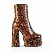 NEW JEFFREY CAMPBELL WIDOW Platform Chunky Heeled Boot Brown Snake