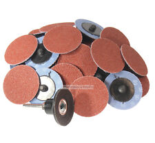 "50Pc 80 Grit  2"" Roloc Type R/O Roll On Lock Sanding Disc w/ Mandrel Made in USA"