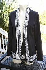 Lucky Brand Open Front Cardigan Swing Wrap Black Embroidered 100% Cotton Large