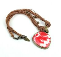 COLDWATER CREEK Red White Floral Pendant Corded Rustic BOHO Necklace